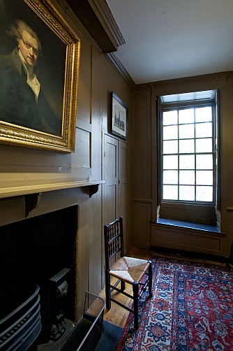 Photograph of the Parlour, showing the north window and a portrait of Sir Joshua Reynolds